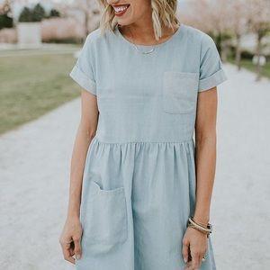 Roolee Dublin Denim Chambray Dress Short Sleeve